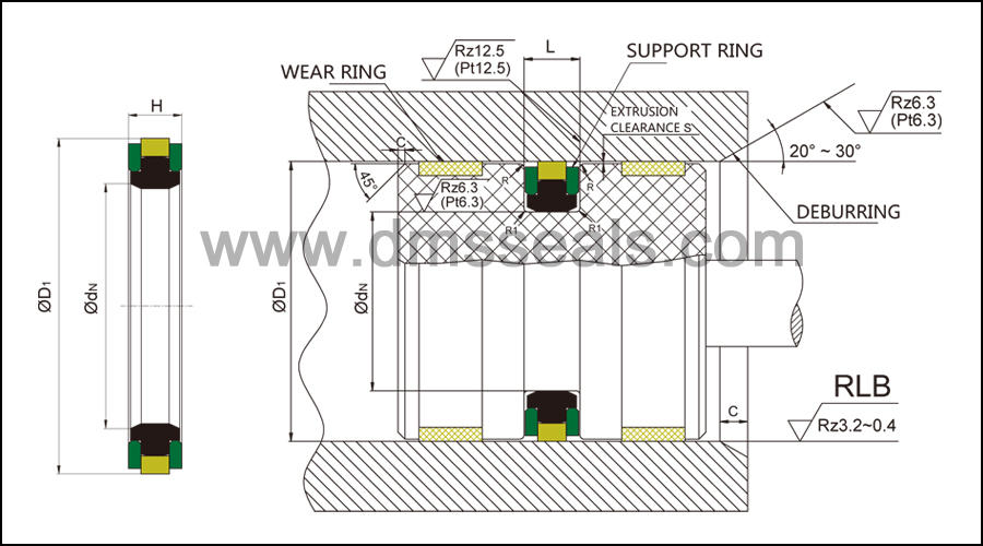 ddkk piston seals glyd ring for sale DMS Seal Manufacturer